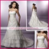 Strapless neckline satin A-line chapel train elegant wedding dress dewd0010