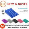 18keys waterproof numeric keypad with retractable USB cable