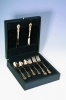 Wooden flatware box in black finish
