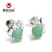 Our hot sale product Natural Oval 6*4mm Emerald with diamond 925 silver material 1E00832B