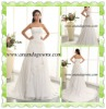 2013 Exclusive design straight neckline chiffon wedding dress with embroidery