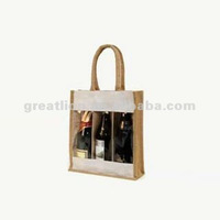 3 Bottle jute carry bag