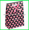 Cute Black Kraft Paper Gift Bag With Red Heart Shape Pattern