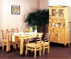 wooden dining table and chair, cabinet