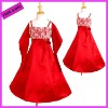 Hot Selling Charming Empire Embrodiery Satin Red Flower Girl Dresses For Wedding FDE098