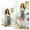 two sets stripes t-shirt dress with a coat