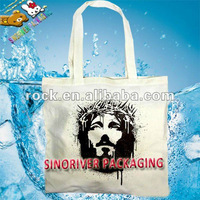 recycled promotional printed 100% calico natural cotton shopping bag