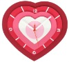 Plastic heart shaped wall clock