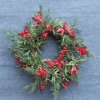 Decorative Artificial Green Tree Foliages,Red Flowers Garland