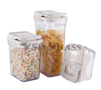 SINOGLASS 3 Pcs Cubi Shape Plastic Rainbow Lock Storage Jars set with Plastic Lid
