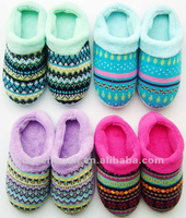 2012 winter slipper/knitted upper/fleece lining/cheap slipper