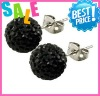 shamballa stud earrings 925 sterling silver black usa clay beadings anti-allergy earrings