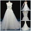 A-line exotic Hand mde Embroidery Lace in Organza Wedding Dress