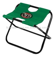 green 600D polyester foldable picnic stool with cooler bag