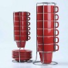 Ceramic Stackable Coffee Mug With Rack, Stacked Coffee Cup With Metal Stand (B161)