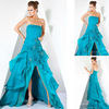 Seductive A-line Ruffle Baby Blue Chiffon Short Front Long Back evening dress formal