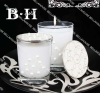 BH070138 glass holder with white wax and pearl deco glass candle holder decorative candle holder
