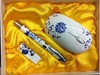 Hot selling---Chinese style white and blue porcelain pen set with 2G USB