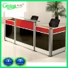 Glasstop wood reception desk from 8'-3'' T8