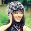 CDH007 New item fashion winter rabbit fur hat with flower for girls