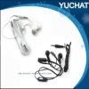 white/black stereo earphone with mic