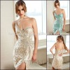 Free Shipping One-shoulder Sleeveless mini White crystal beading latest party wear dresses for girls