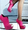 elegant ladies iron heed pink high stiletto heel sheep boots 2012