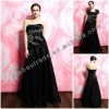 Best Black Evening Dress and White Lace Applique & Black Bolero Jacket YBED-0007