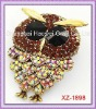 Brooch In Owl Shape With Rhinestone And Easily Fastens To Any Bag Or Hat Or Coat Or Jacket..