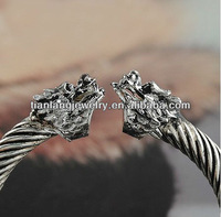 wholesale fahion Chinese style double dragon head bangle