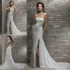 Wholesale price fabulous sweetheart side slit lace wedding dress