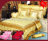 100% Polyester Satin Hot-pressed Patchwork Comforter Set