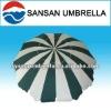 Green and white color fiber beach umbrella