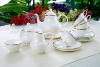Novel design bone china ceramic tea set-huangjin
