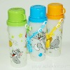 Plastic portable cartoon kids PP water bottle with cup