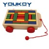 wooden block car toy with string