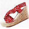 S88B8-15 bohemian lady dot open toe sandals with cross-slope braided wedge heel red