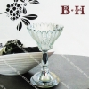BH800812 flower glass candle holder with metal stand