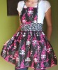 dress APH03-Lucy apron- Pink flaming skulls and flowers, goth, Halloween, punk, sooo fun