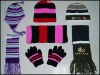 Jacquard knit set,knit scarf hat&gloves