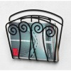 020803 wall mount black scroll magazine rack