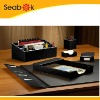 Leather office desk stationery set