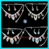 Fashion silver rhinestone wedding necklace and earring sets
