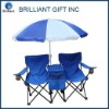 Double camping chair with a cooler bag with Clamp for umbrella