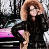 feather coat with fox fur collar