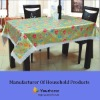 Printed PEVA tablecloth with embossing and lace edge