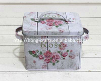 Target Audit Passed! Food grade small vintage effect square tin box with handle