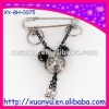 lady fashion ornaments metal brooch with ring and silver bell