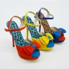 12cm height of the heels colourful lint material leopard insole ladies shoes