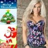 S/M/L/XL new arrival Flower colorful bust up tight slim perfect bodyshaper bustier
